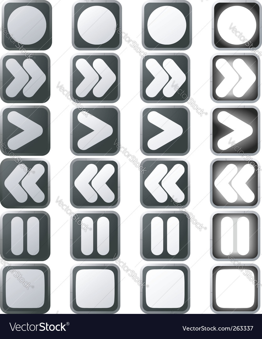 Clean white control panel icons vector | Price: 1 Credit (USD $1)