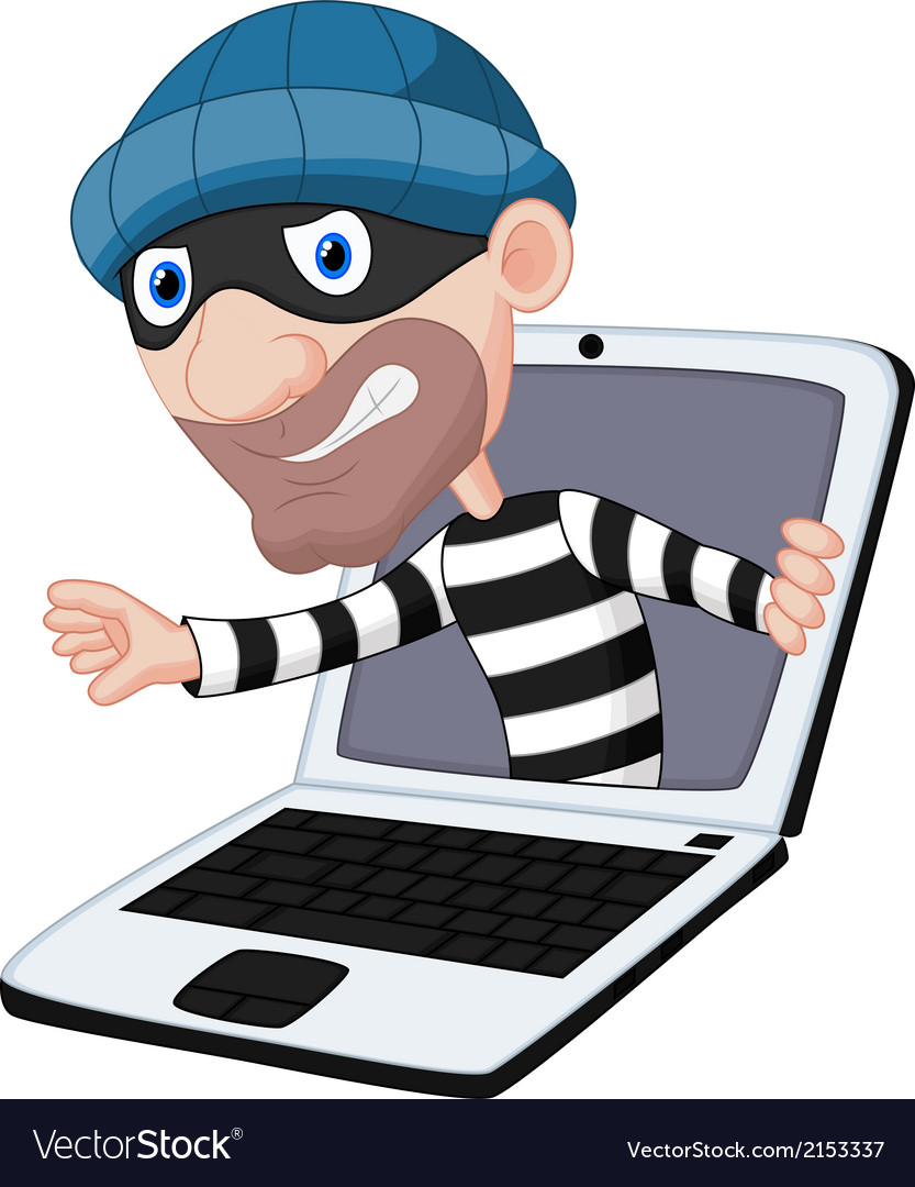 Computer crime cartoon vector | Price: 1 Credit (USD $1)