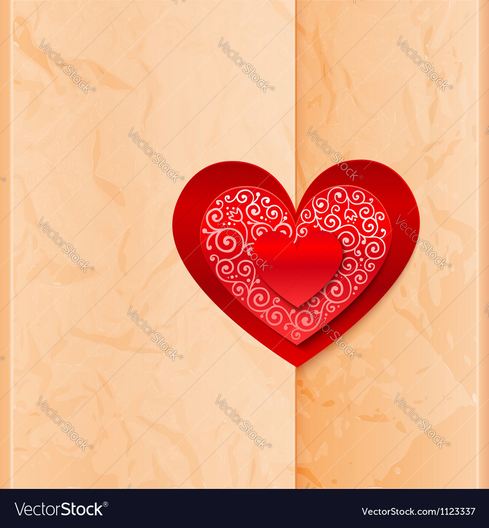 Craft paper folder closed by heart sticker vector | Price: 1 Credit (USD $1)