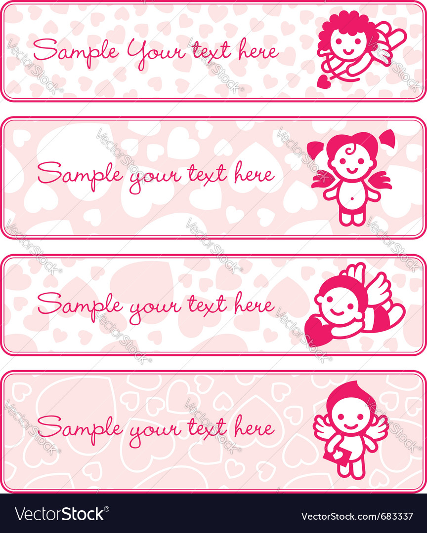 Cupids banner set collection angels vector | Price: 1 Credit (USD $1)