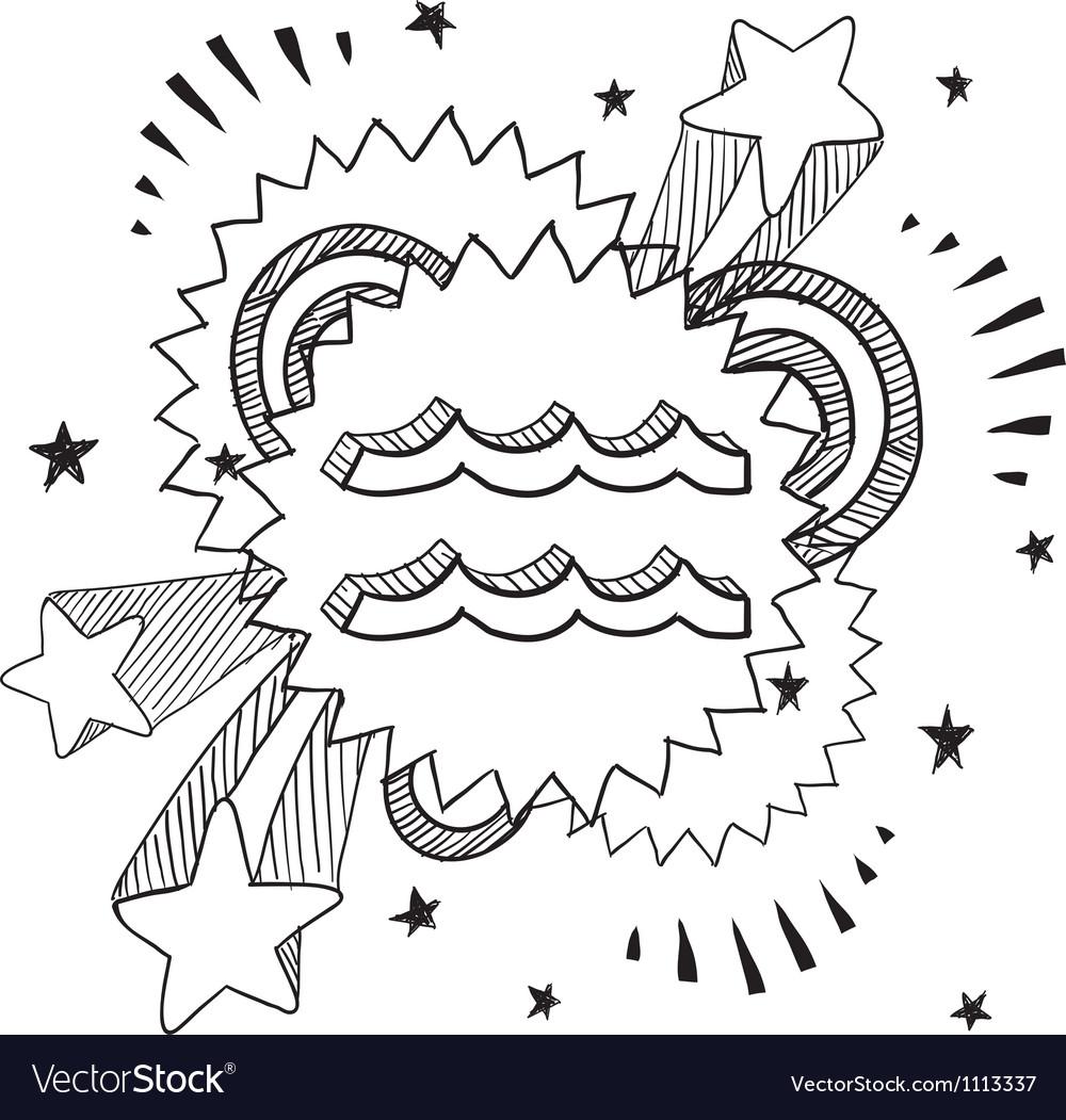 Doodle pop astrology aquarius vector | Price: 1 Credit (USD $1)
