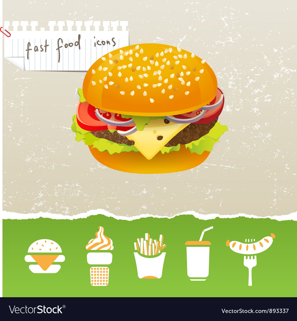 Fast food icons vector | Price: 3 Credit (USD $3)