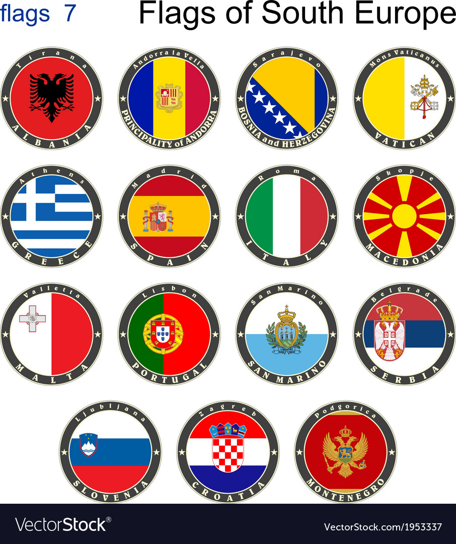 Flags of south europe vector | Price: 1 Credit (USD $1)