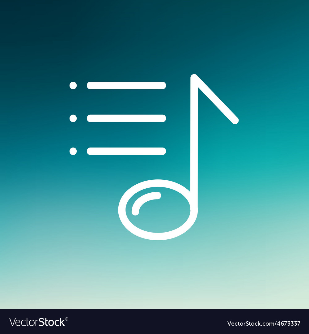 Musical note with bar thin line icon vector | Price: 1 Credit (USD $1)