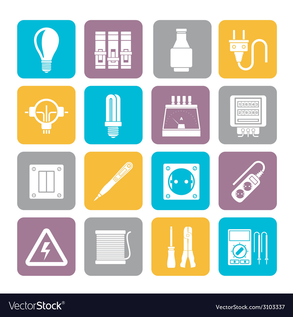 Silhouette electrical devices and equipment icons vector | Price: 1 Credit (USD $1)