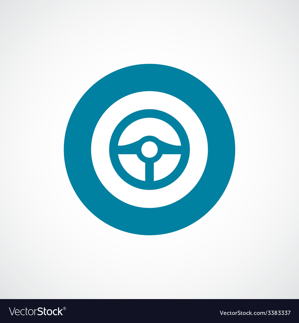 Steering wheel bold blue border circle icon vector | Price: 1 Credit (USD $1)