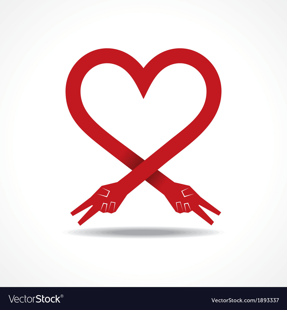 Victory hands make heart shape vector | Price: 1 Credit (USD $1)