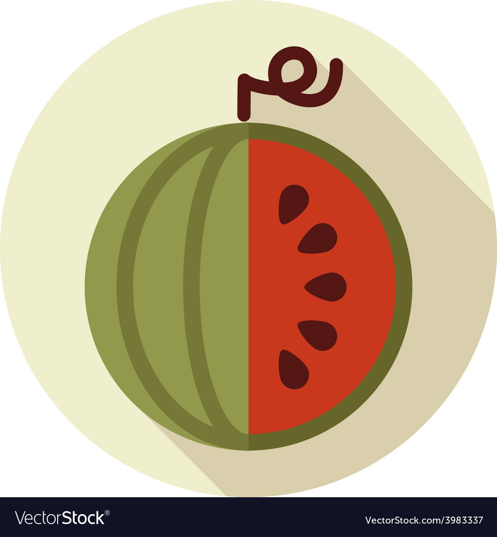 Watermelon flat icon with long shadow vector | Price: 1 Credit (USD $1)