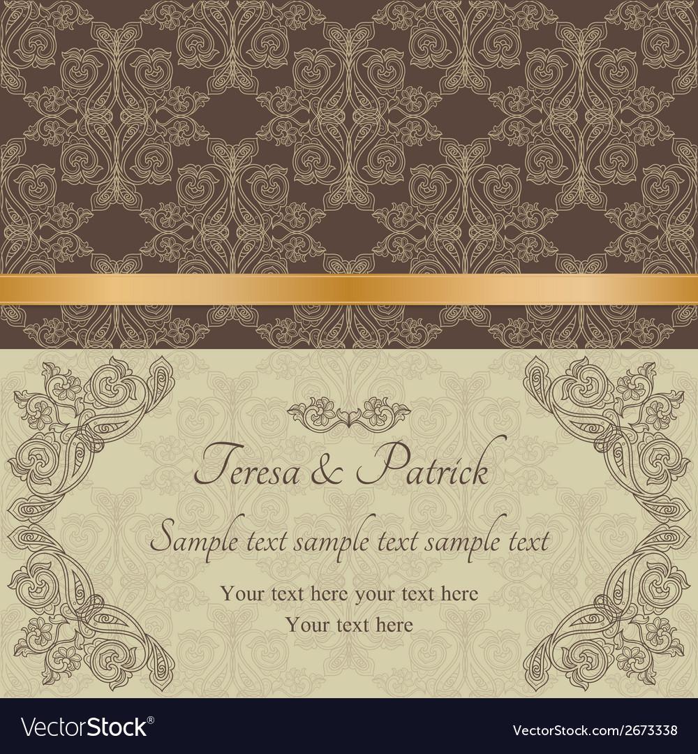 Baroque invitation brown vector | Price: 1 Credit (USD $1)