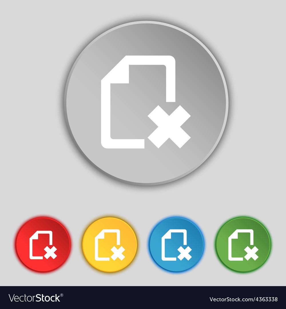 Delete file document icon sign symbol on five flat vector | Price: 1 Credit (USD $1)