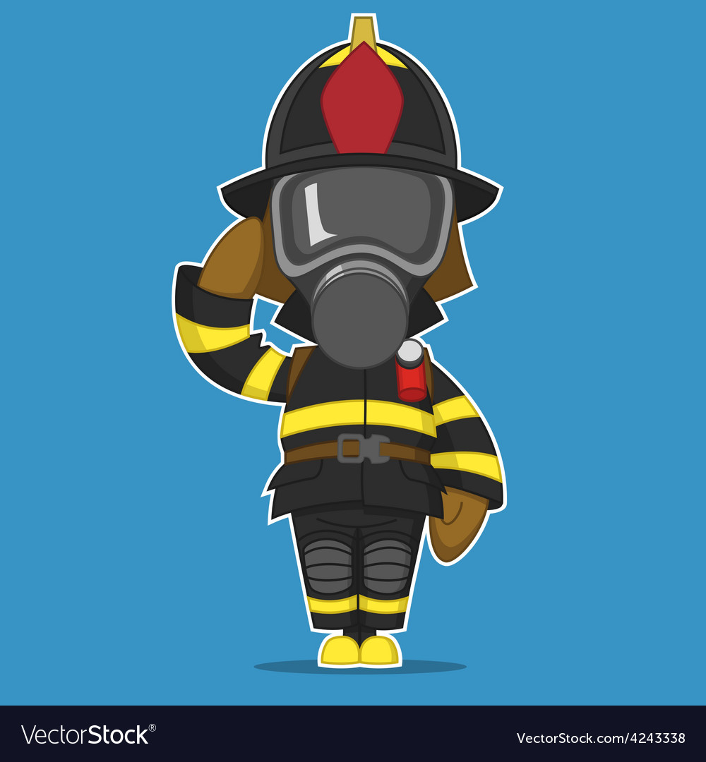 Firefighter salutes vector | Price: 3 Credit (USD $3)