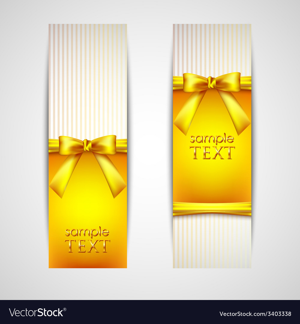 Greeting cards with yellow bows and ribbons vector | Price: 1 Credit (USD $1)