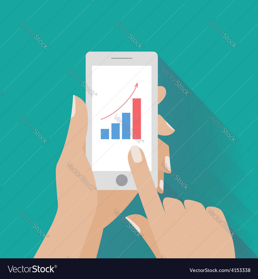 Hand holing smart phone with increasing bar chart vector | Price: 1 Credit (USD $1)