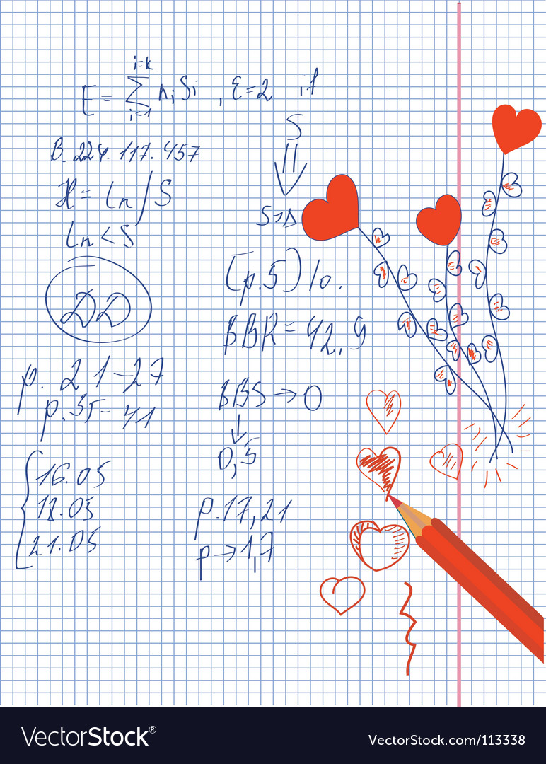 Hearts in the math notebook vector | Price: 1 Credit (USD $1)