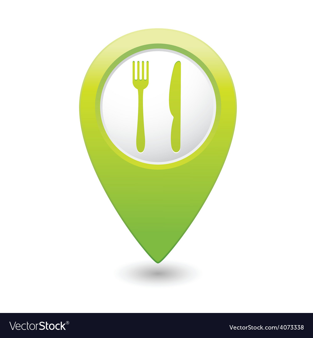 Knife and fork green map pointer vector | Price: 1 Credit (USD $1)