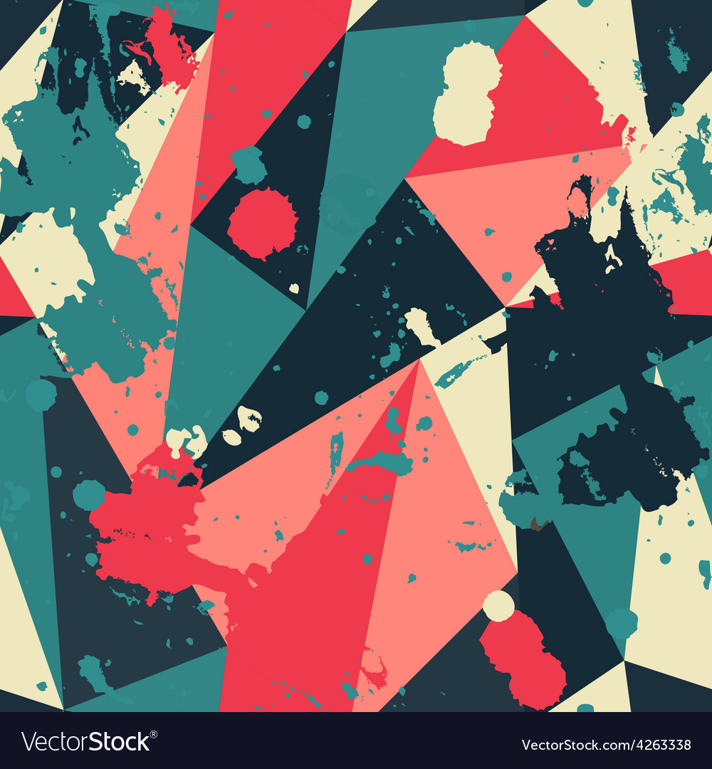 Retro triangle seamless pattern with blob effect vector | Price: 1 Credit (USD $1)