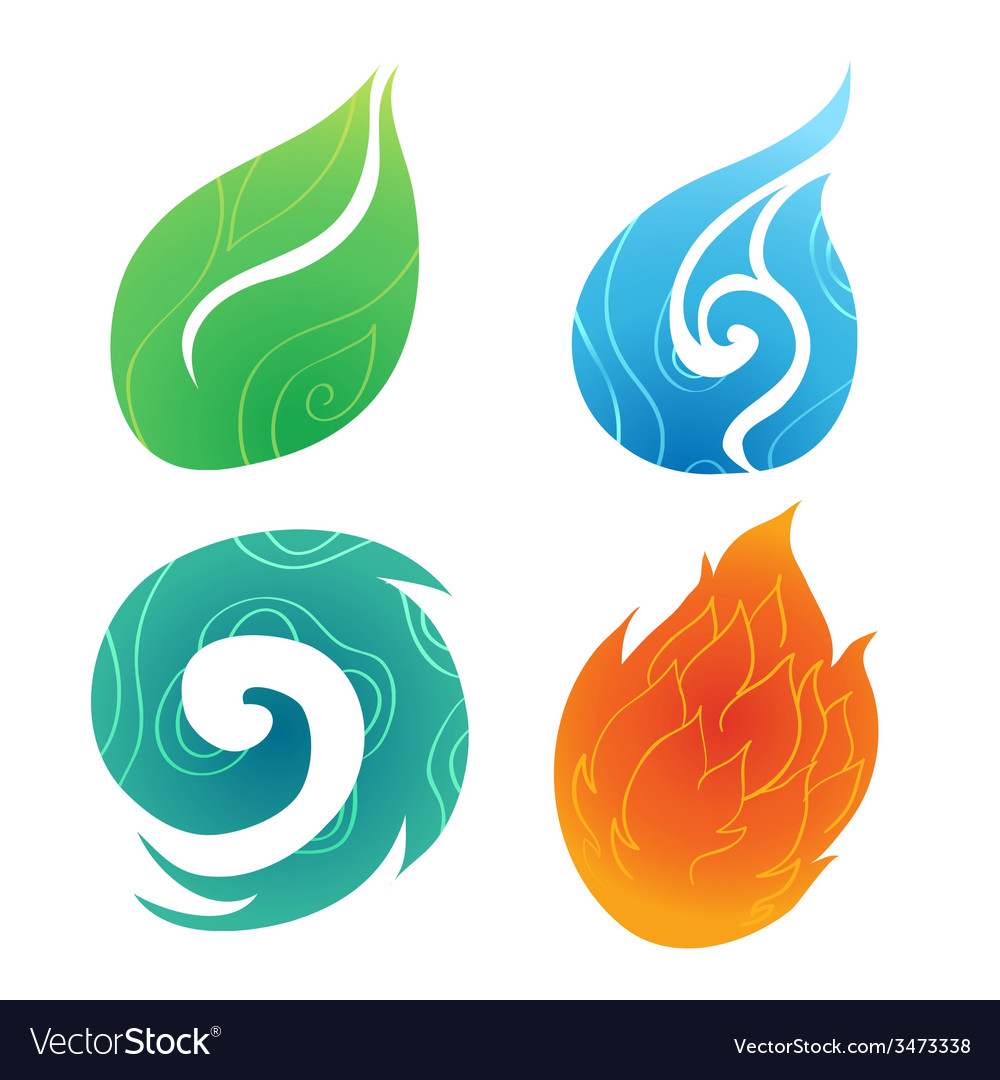 Sand water wind fire vector | Price: 1 Credit (USD $1)