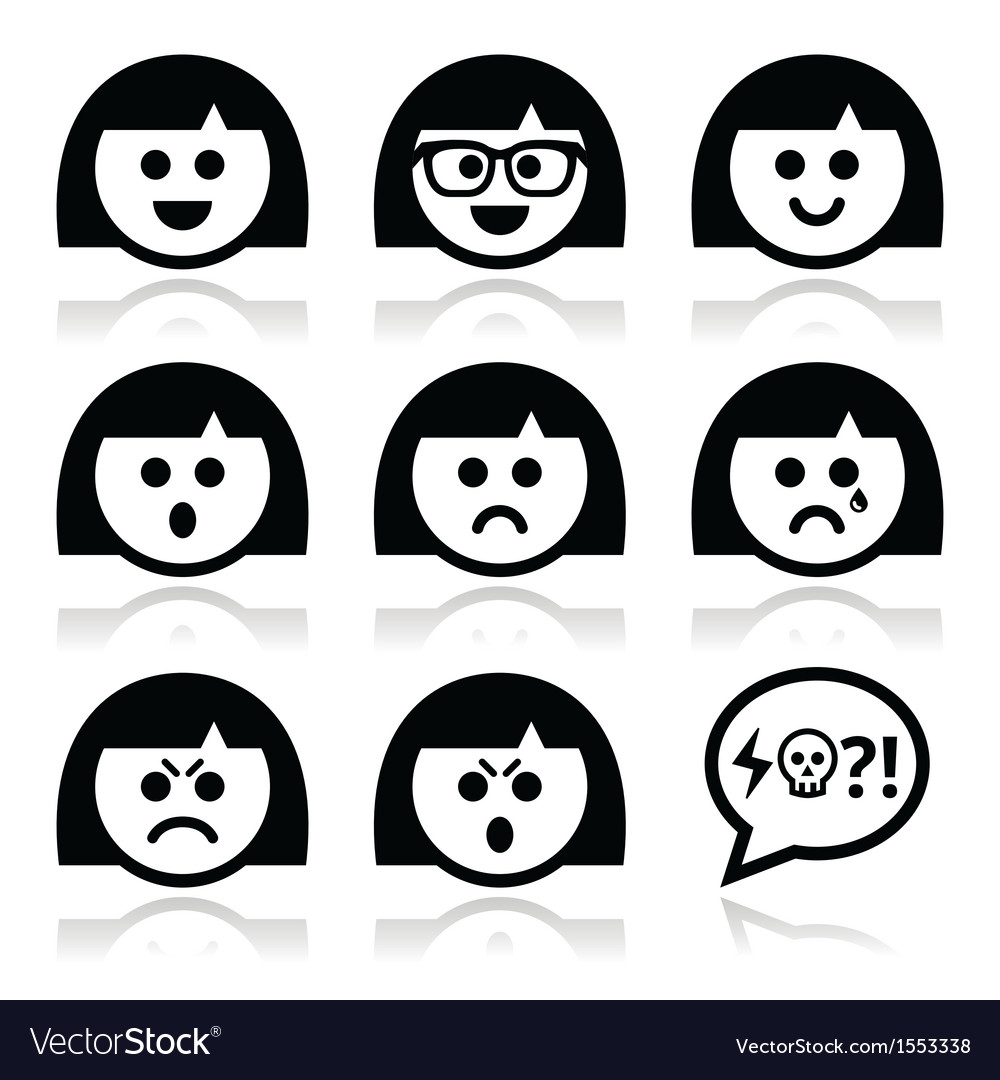 Smiley girl or woman faces avatar icons vector | Price: 1 Credit (USD $1)