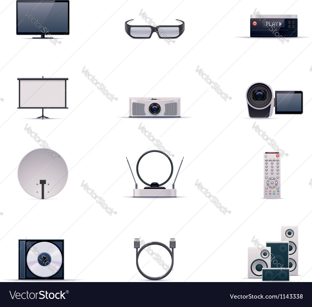 Video electronics icon set vector | Price: 5 Credit (USD $5)