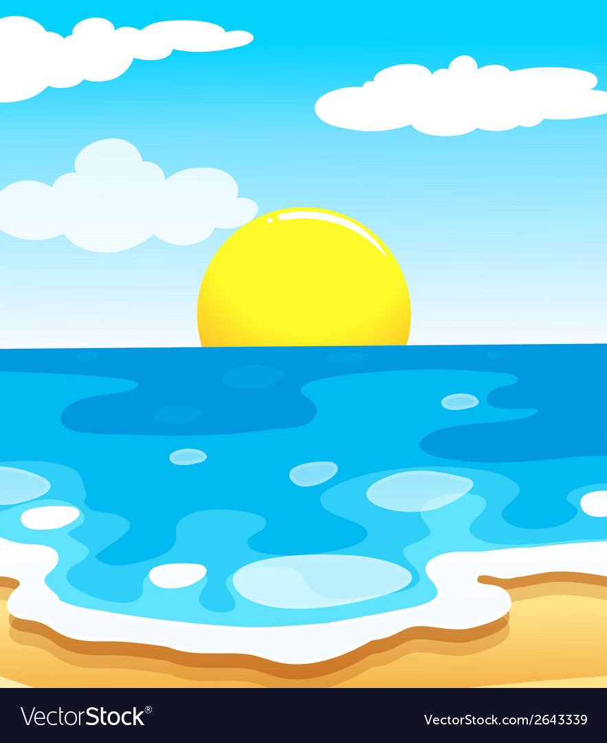 A beautiful view of the beach with a sun vector | Price: 1 Credit (USD $1)