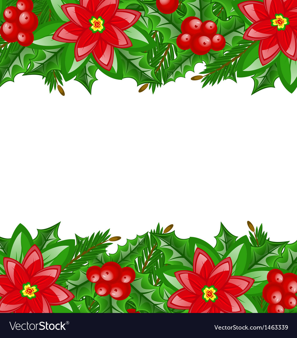 Christmas decoration with holly berry and vector   Price: 1 Credit (USD $1)