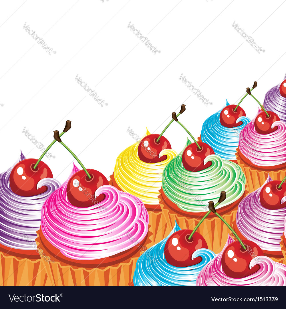 Cupcake cherry icing vector | Price: 3 Credit (USD $3)