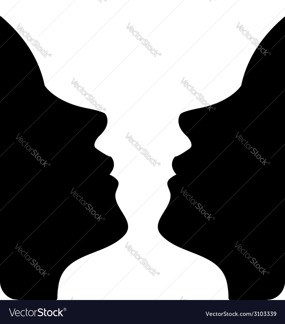 Faces or vase- of two faces like a vase vector   Price: 1 Credit (USD $1)
