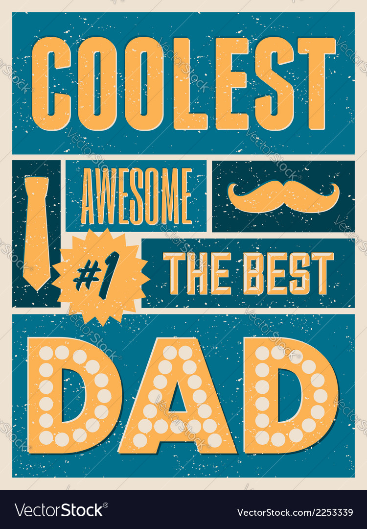 Fathers day retro collage design greeting card vector | Price: 1 Credit (USD $1)