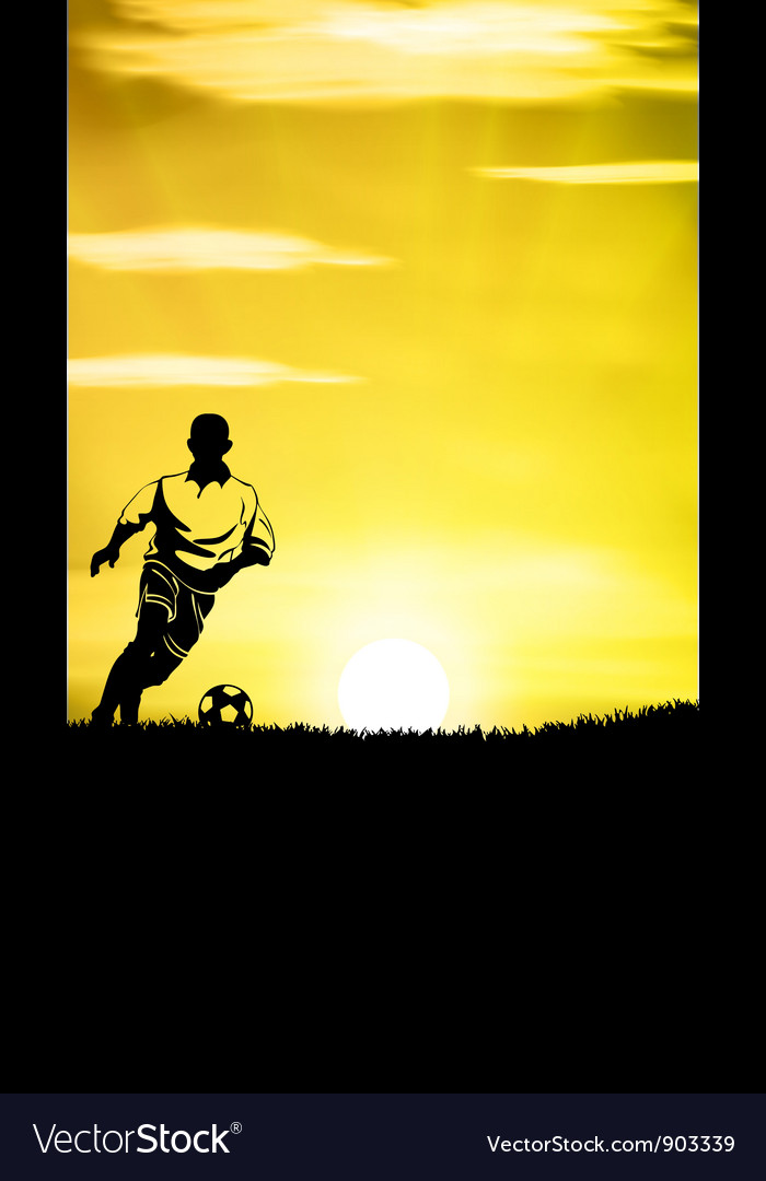 Football player training in a grass field vector | Price: 1 Credit (USD $1)