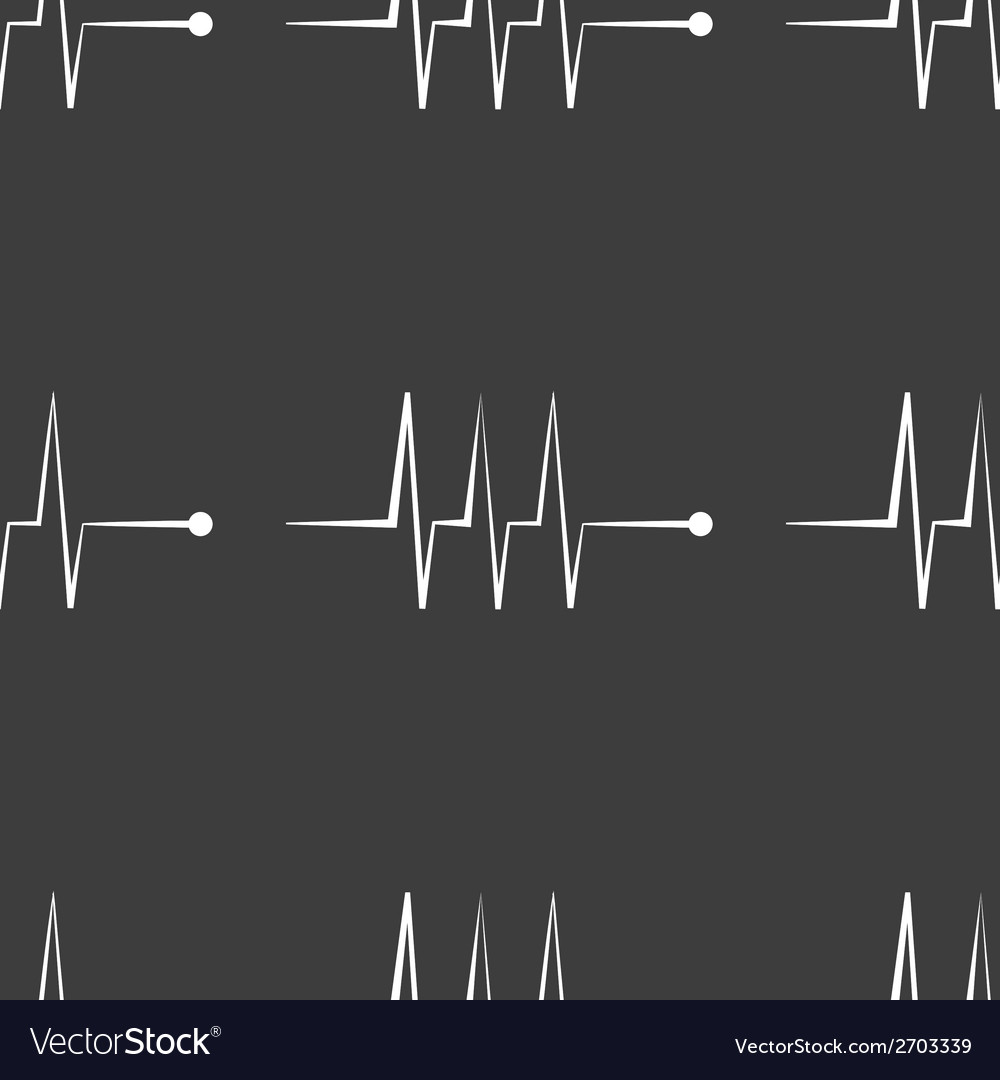Heart rhythm web icon flat design seamless gray vector | Price: 1 Credit (USD $1)