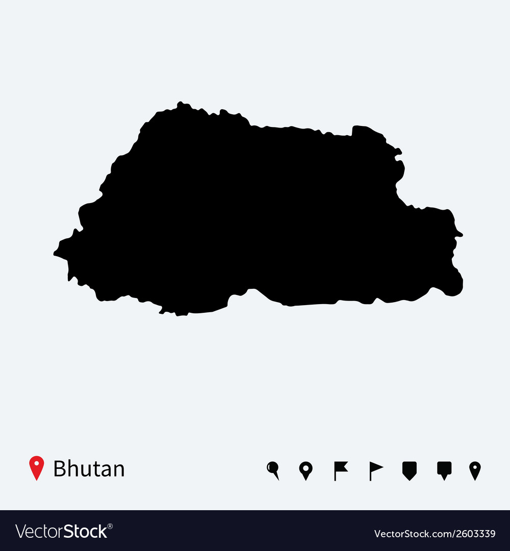 High detailed map of bhutan with navigation pins vector | Price: 1 Credit (USD $1)