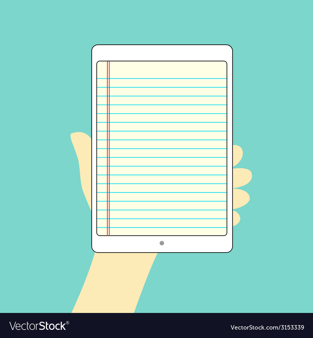 Note tablet hand on vector | Price: 1 Credit (USD $1)