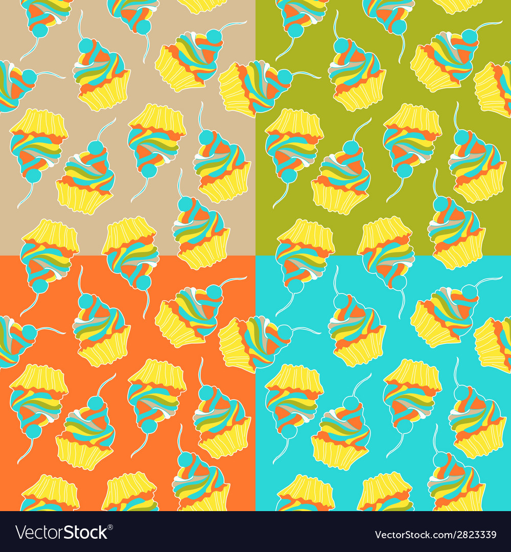 Sweet cake seamless pattern vector | Price: 1 Credit (USD $1)