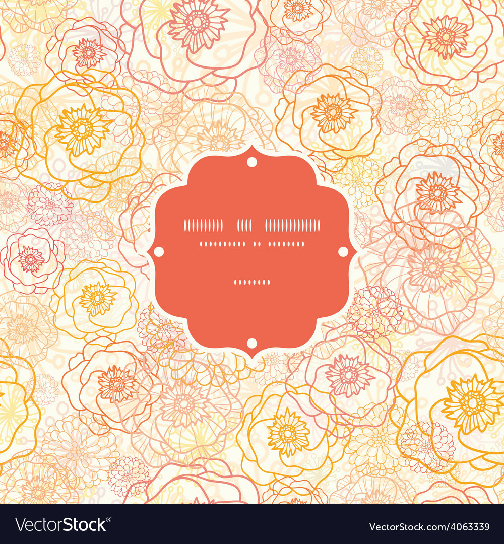 Warm flowers frame seamless pattern vector | Price: 1 Credit (USD $1)