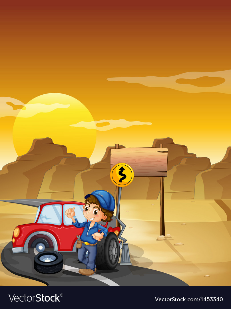 A road with a broken red car near an empty vector | Price: 1 Credit (USD $1)