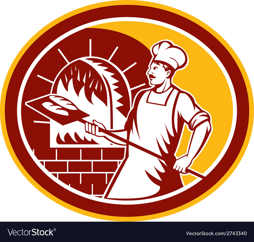 Baker holding peel oven retro vector | Price: 1 Credit (USD $1)