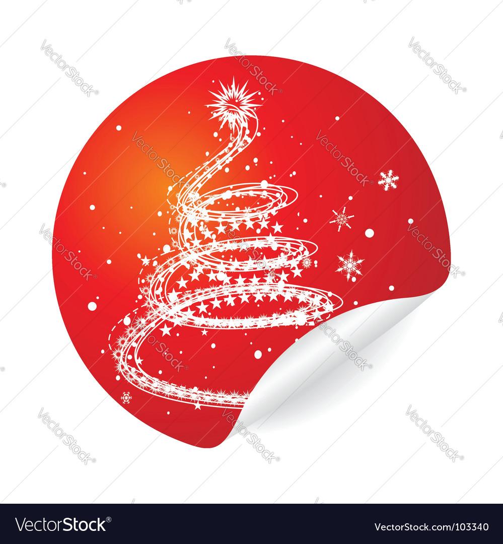 Christmas tree sticker vector | Price: 1 Credit (USD $1)