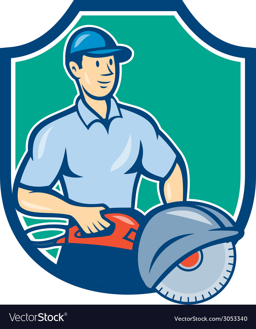 Construction worker concrete saw consaw cartoon vector | Price: 1 Credit (USD $1)