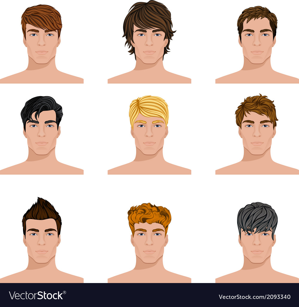 Different hairstyle men faces icons set vector | Price: 1 Credit (USD $1)