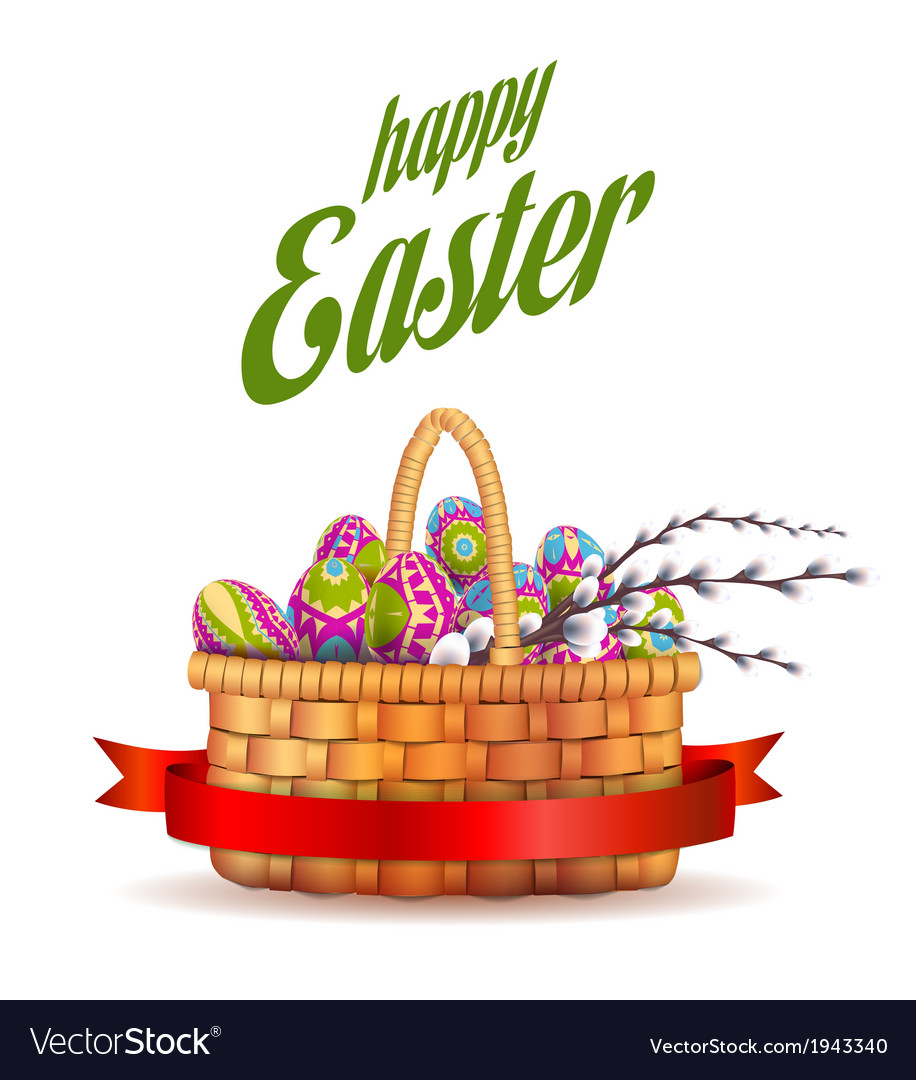 Easter basket with eggs vector | Price: 1 Credit (USD $1)