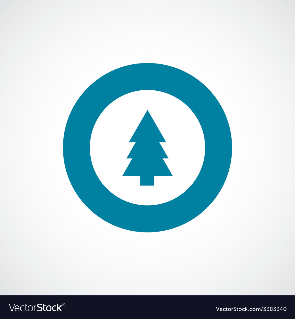 Fir-tree bold blue border circle icon vector | Price: 1 Credit (USD $1)