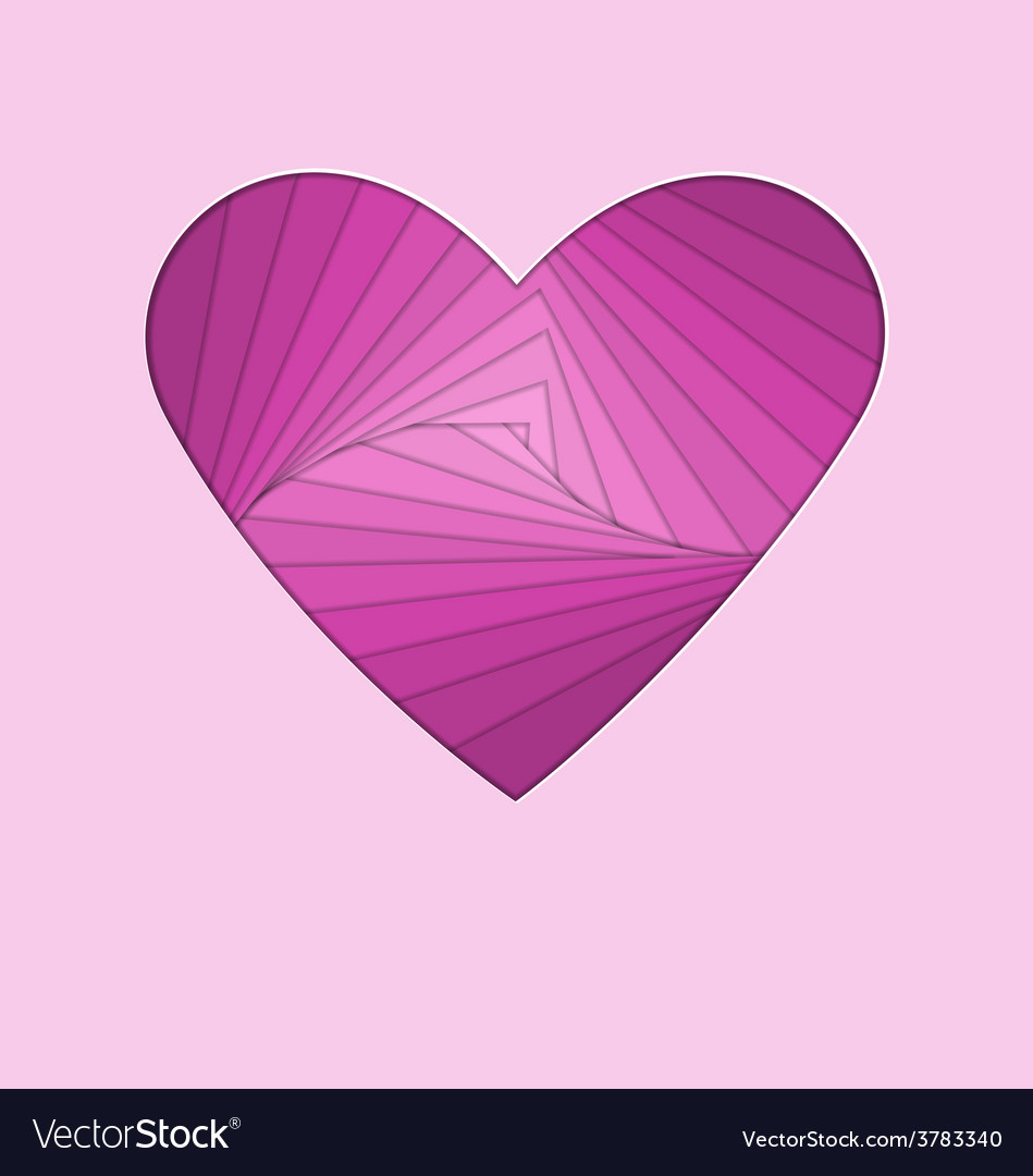 Hand-made paper folding heart isolated on violet vector | Price: 1 Credit (USD $1)