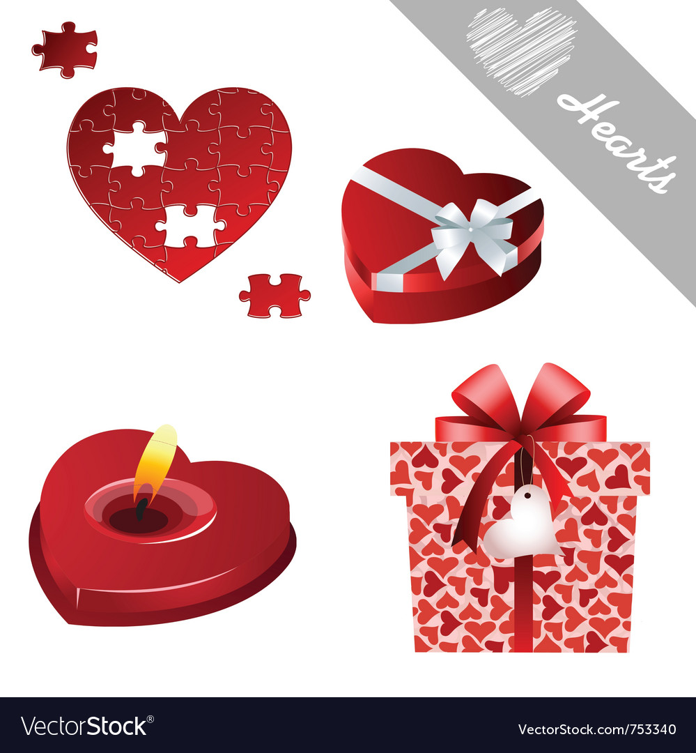 Hearts valentines icons vector | Price: 1 Credit (USD $1)