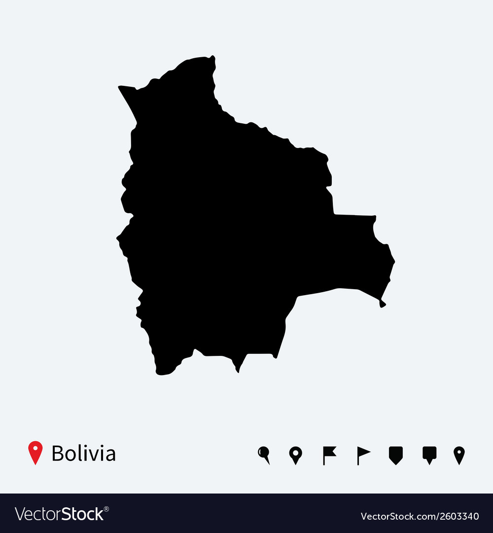 High detailed map of bolivia with navigation pins vector | Price: 1 Credit (USD $1)