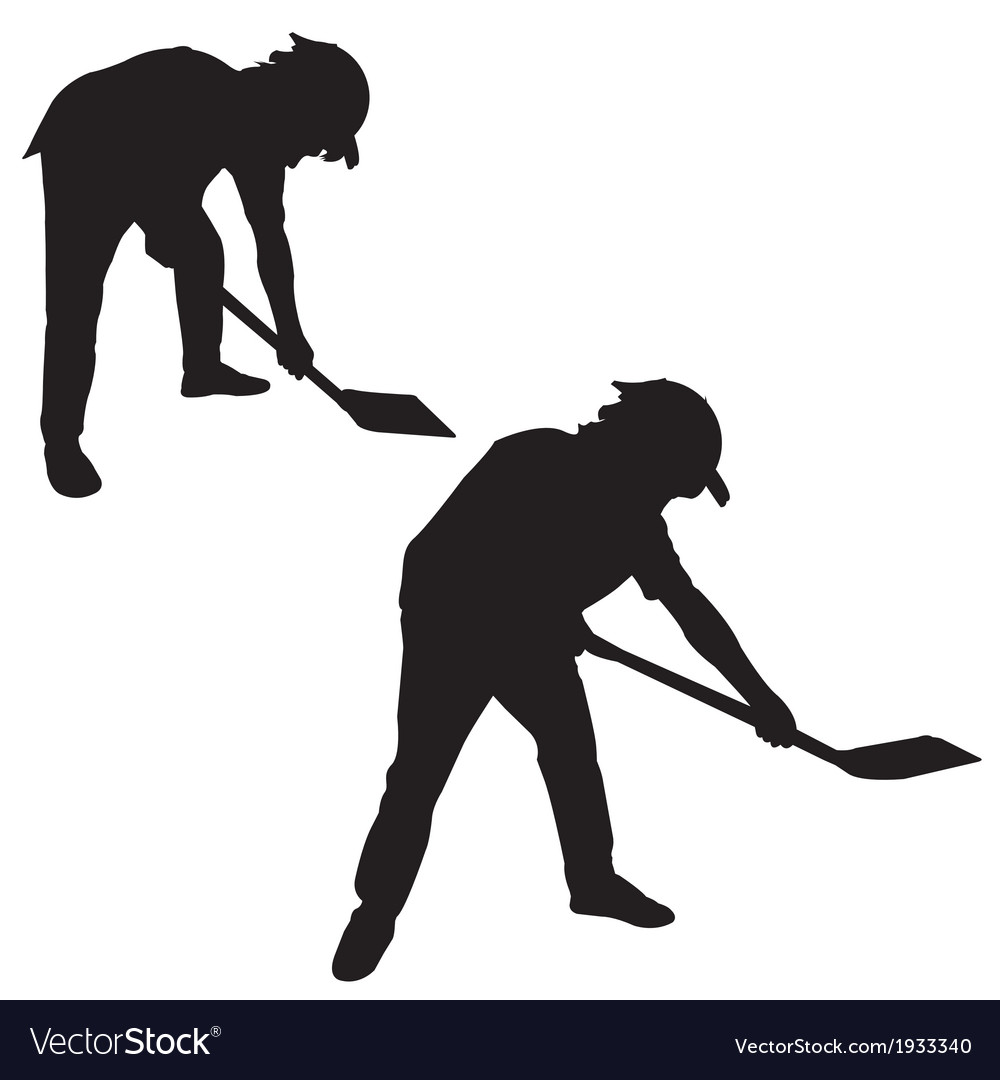 Silhouette of man with a spade vector | Price: 1 Credit (USD $1)