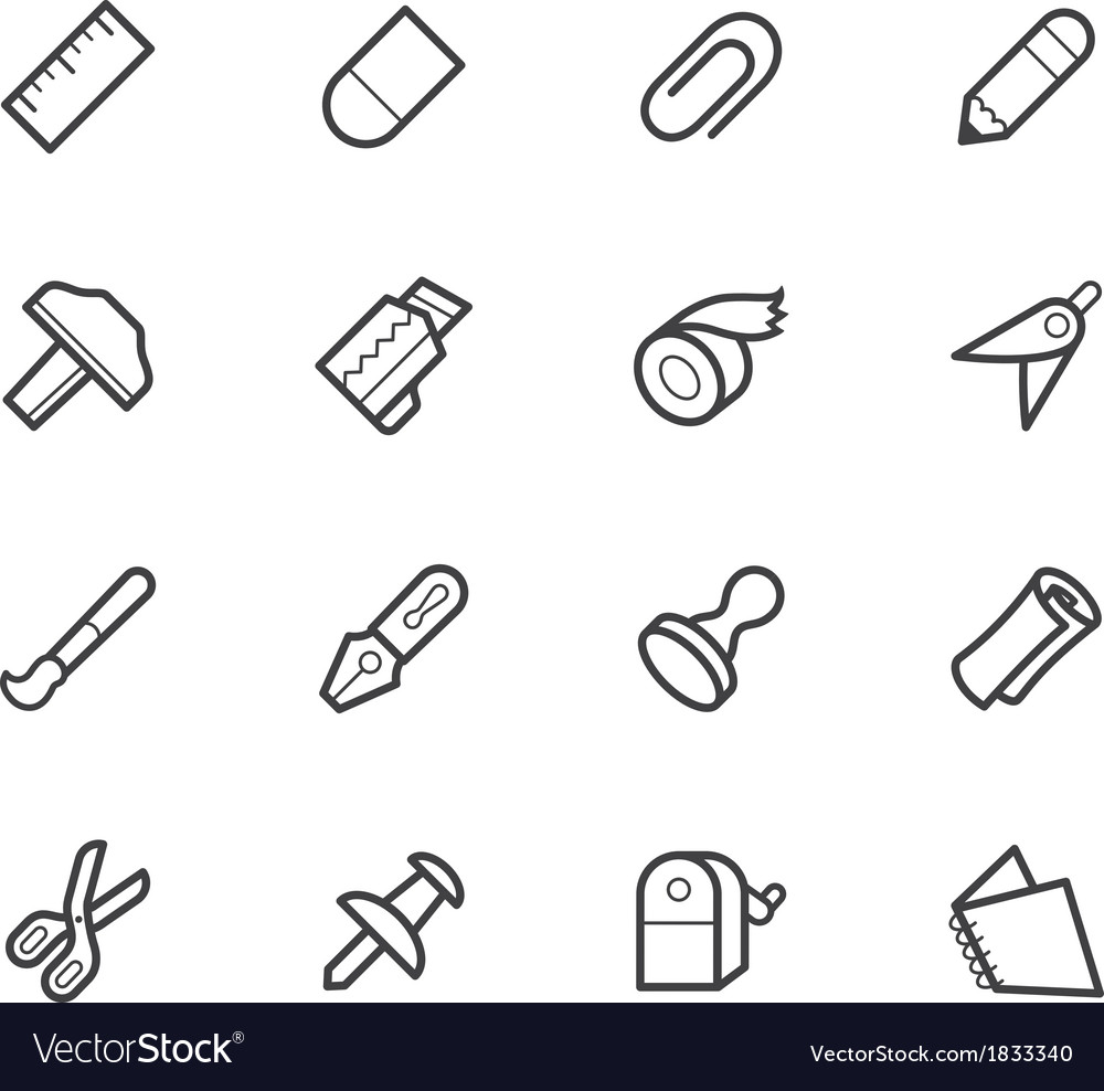 Stationery black icon set vector | Price: 1 Credit (USD $1)