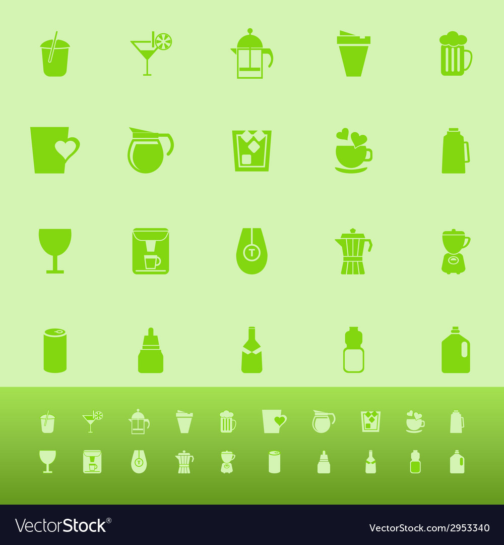 Variety drink color icons on green background vector | Price: 1 Credit (USD $1)