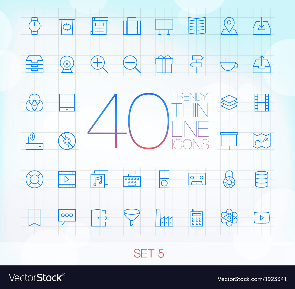 40 trendy thin icons for web and mobile set 5 vector | Price: 1 Credit (USD $1)