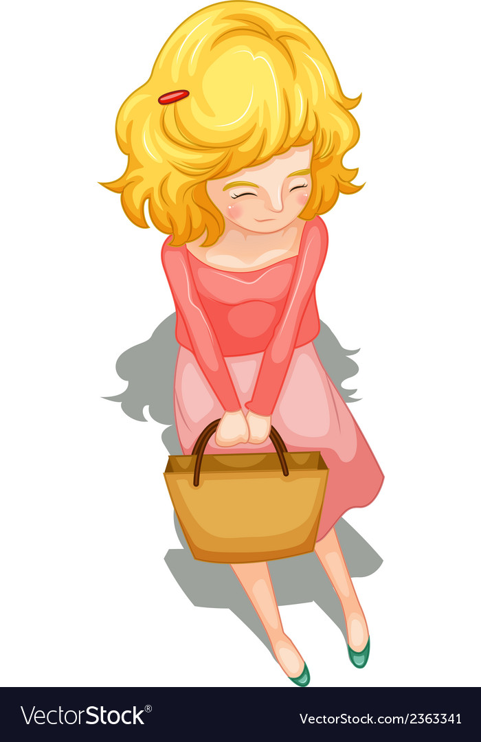 A topview of a teenager standing with a handbag vector | Price: 3 Credit (USD $3)