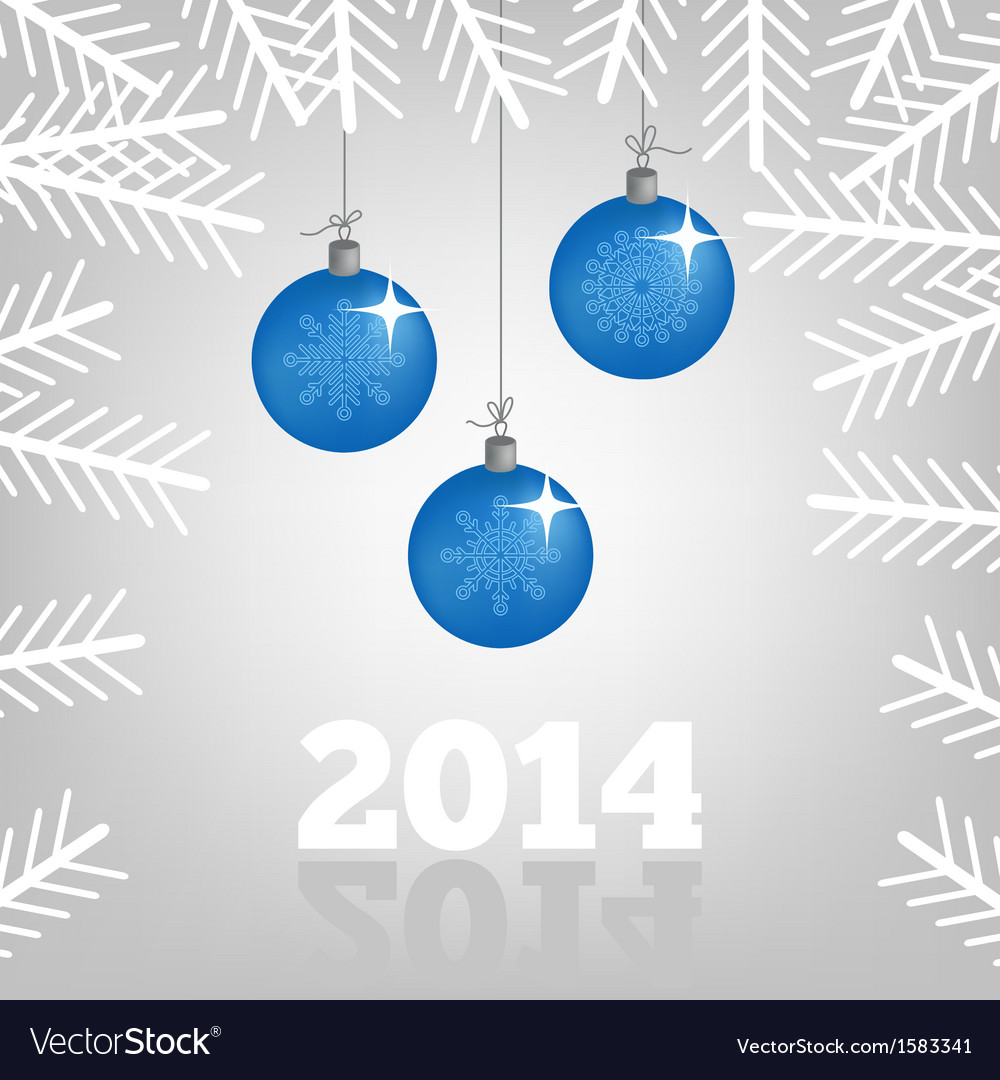 Background with christmas balls and spruce branche vector | Price: 1 Credit (USD $1)